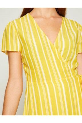 Koton Kadın Sarı Beli Bağlamalı Elbise 8YAK82461UW 4