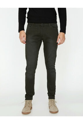 Koton Erkek Siyah Düşük Bel Dar Kesim Pantolon 8YAM41138LW 2