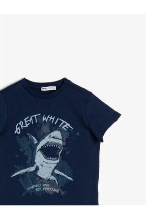 Koton Erkek Çocuk Lacivert Yazili Baskili T-shirt 2