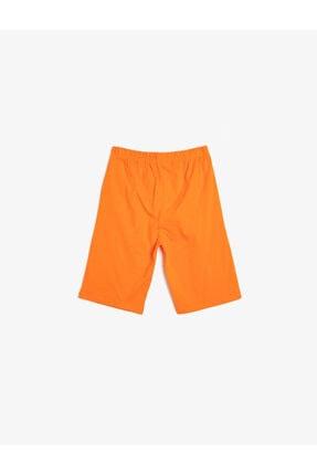 Koton Erkek Çocuk Turuncu Basic Pamuklu T-shirt Kumaşından Cepsiz Baskılı Beli Lastikli Şort 1
