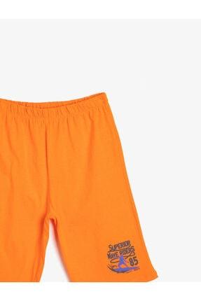 Koton Erkek Çocuk Turuncu Basic Pamuklu T-shirt Kumaşından Cepsiz Baskılı Beli Lastikli Şort 2