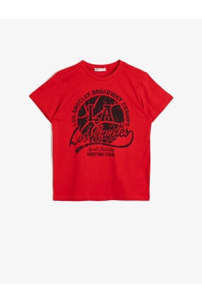Koton Erkek Çocuk Kırmızı Yazili Baskili T-Shirt 0