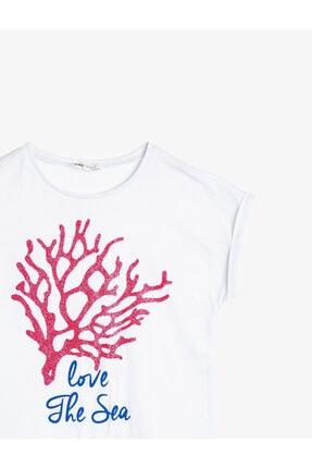 Koton Kız Çocuk Beyaz Pamuklu Yumuşak Simli Baskılı Bisiklet Yaka Kısa Kollu T-shirt 3