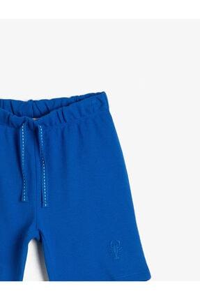 Koton Erkek Çocuk Mavi Pamuklu Pike Kumaştan Beli Kordonlu ve Lastikli Paça Nakışlı Şort 2