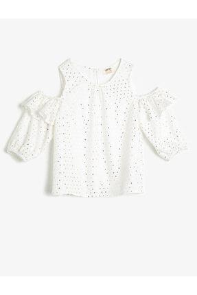 Koton Kız Çocuk Parlak Beyaz Puantiyeli Dökümlü Kumaş Bluz 0