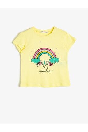 Koton Kız Çocuk Sarı Simli Baskılı Bisiklet Yaka Kısa Kollu T-Shirt 0