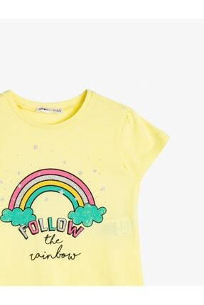 Koton Kız Çocuk Sarı Simli Baskılı Bisiklet Yaka Kısa Kollu T-Shirt 2