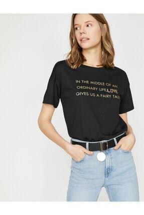 Koton Kadın Siyah T-Shirt 0