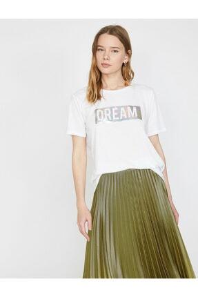 Koton Kadın Beyaz Varak Yazı Baskılı Bisiklet Yaka Standart Kalıp T-shirt 1