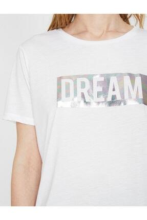 Koton Kadın Beyaz Varak Yazı Baskılı Bisiklet Yaka Standart Kalıp T-shirt 4
