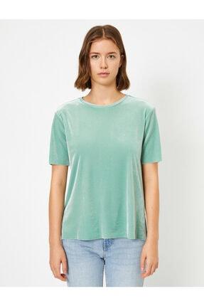 Koton Kadın Yeşil Kadife Kisa Kollu Bisiklet Yaka T-shirt 2