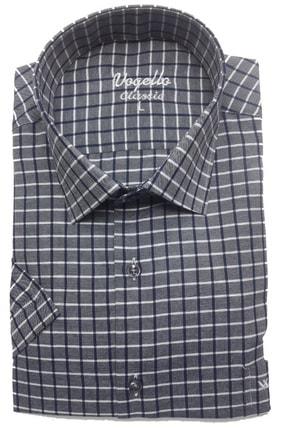 VOGELLO Erkek Kısa Kol Gri Ekose Gömlek 1