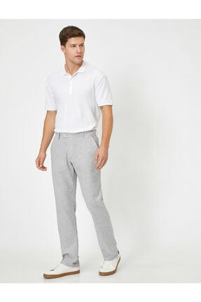 Koton Keten Karisimli Slim Fit Dokuma Pantolon 1
