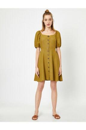 Koton Kadın Sarı U Yaka Kısa Kollu Düğme Detaylı Midi Elbise 2