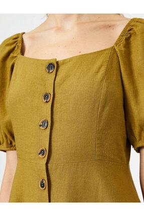 Koton Kadın Sarı U Yaka Kısa Kollu Düğme Detaylı Midi Elbise 4