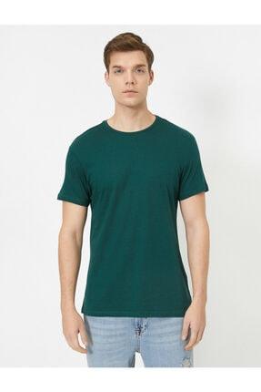 Koton Erkek Yeşil Bisiklet Yaka Slim Fit Basic T-Shirt 2