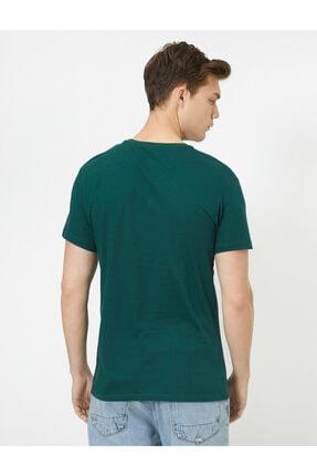 Koton Erkek Yeşil Bisiklet Yaka Slim Fit Basic T-Shirt 3