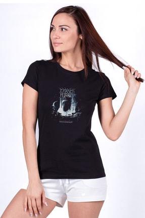 Collage Carach Angren Stratarmontanur Baskılı Siyah Kadın Örme Tshirt T-shirt Tişört T Shirt 0