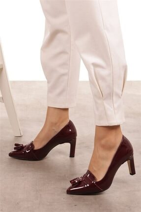 Mio Gusto Emma Bordo Rugan Topuklu Ayakkabı 4