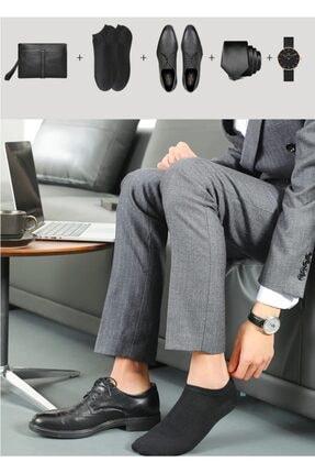 çorapmanya 10 Çift Bambu Dikişsiz Siyah Erkek Patik Çorap Bilek Boy 1
