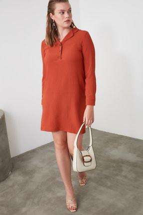 TRENDYOLMİLLA Kiremit Gömlek Yaka Elbise TWOAW21EL0163 1