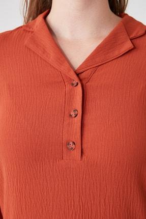 TRENDYOLMİLLA Kiremit Gömlek Yaka Elbise TWOAW21EL0163 3