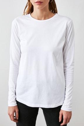 TRENDYOLMİLLA Siyah Antrasit Beyaz 3'lü Paket Bisiklet Yaka Basic Örme T-Shirt TWOAW21TS0094 2