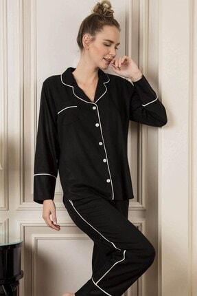 Lohusa Sepeti Kadın Siyah Prigione Önden Düğmeli Pijama Takımı 1