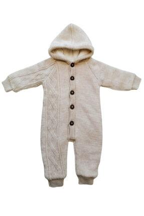 Puppis Baby Unisex Çocuk Bej Kapüşonlu Welsoft Triko Tulum 0