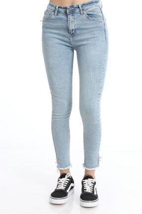 ZİNCiRMODA Yüksek Bel Dar Paça Püsküllü Halkalı Mavi Pantolon 1