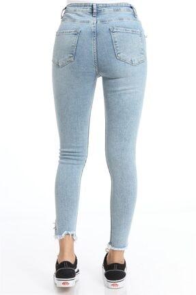 ZİNCiRMODA Yüksek Bel Dar Paça Püsküllü Halkalı Mavi Pantolon 3