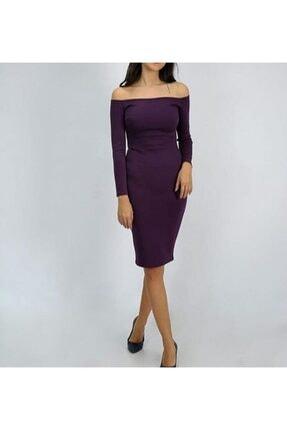 Kadın Mor Diz Altı Elbise Glc121180