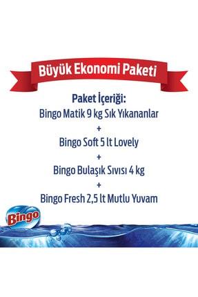Bingo Toz Çamaşır Deterjanı 9 kg + Yumuşatıcı 5 lt Lovely+Bulaşık Sıvısı 4 kg+Yüzey Temizleyicisi 2,5 lt 1