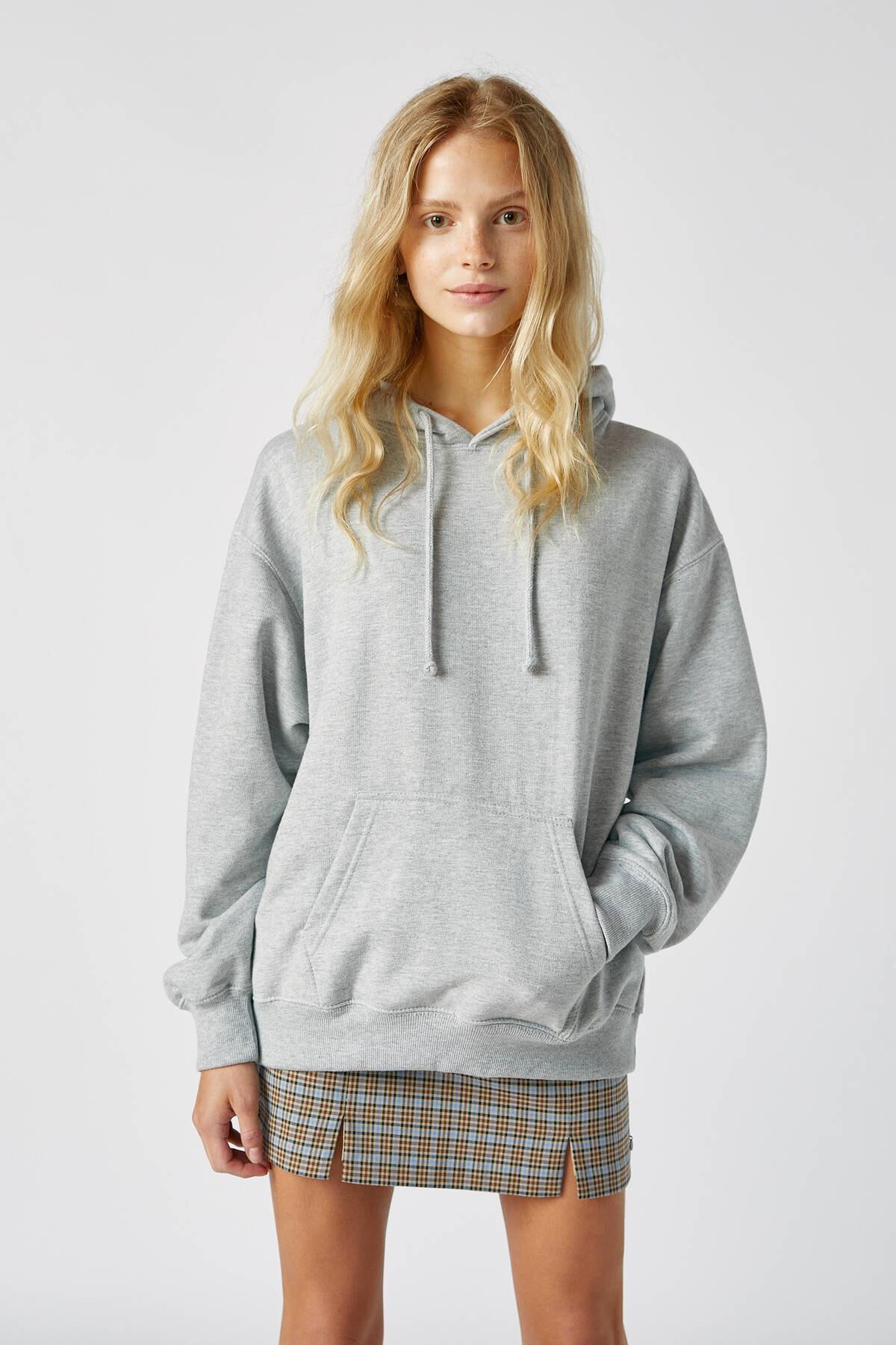 Pull & Bear Kadın Orta Melanj Basic Uzun Kollu Kapüşonlu Sweatshirt 09594301 0
