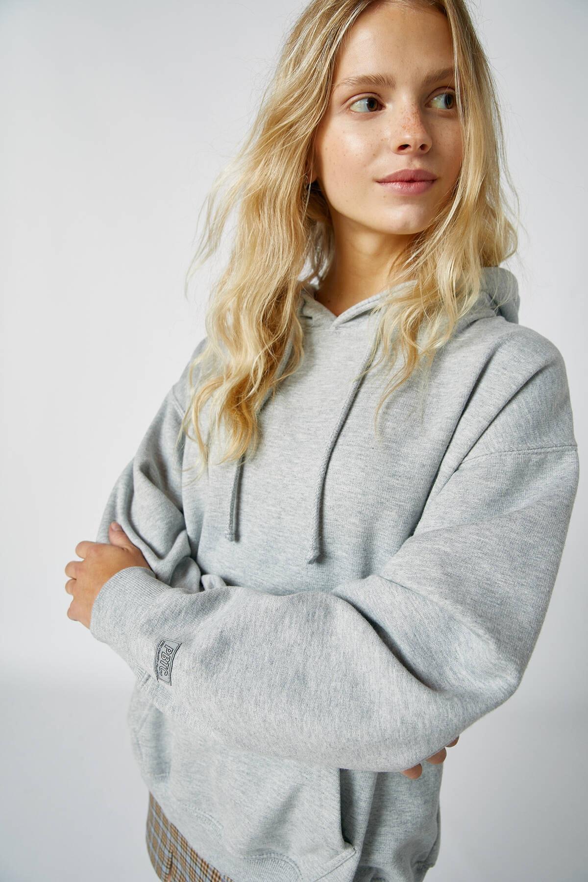 Pull & Bear Kadın Orta Melanj Basic Uzun Kollu Kapüşonlu Sweatshirt 09594301 3