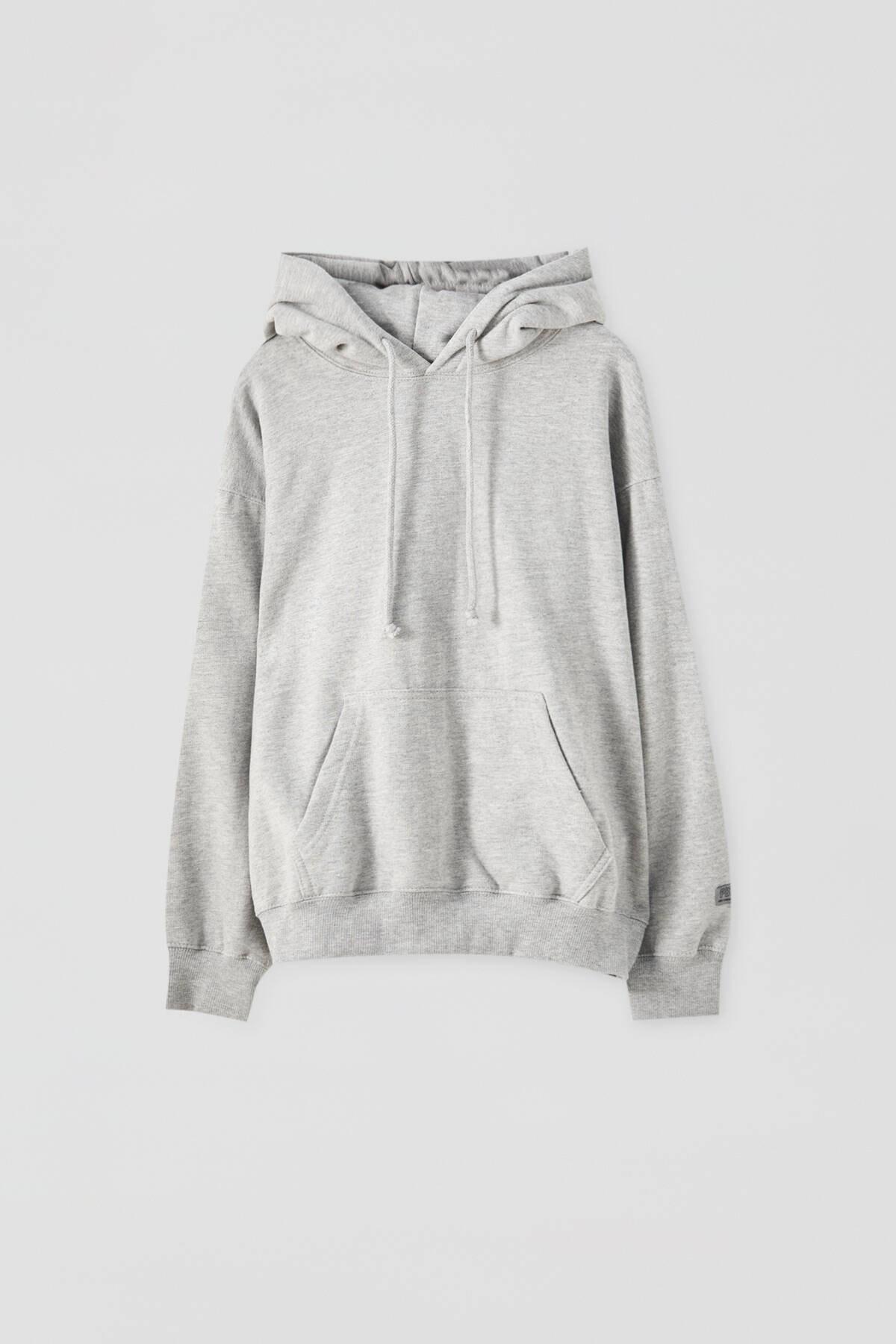 Pull & Bear Kadın Orta Melanj Basic Uzun Kollu Kapüşonlu Sweatshirt 09594301 4