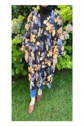Woo'la Kadın Siyah Çiçekli Kimono 0
