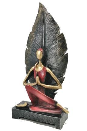 Gift Garden Dekoratif Yapraklı Yoga Yapan Kadın Biblosu 22 cm 0