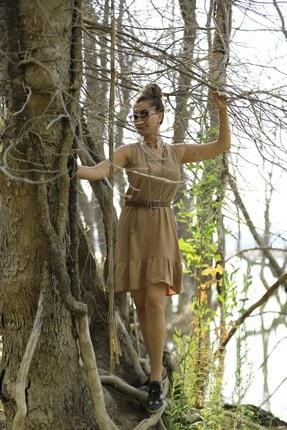 Crep Tekstil Bej Rengi Eteği Fırfırlı Elbise 2
