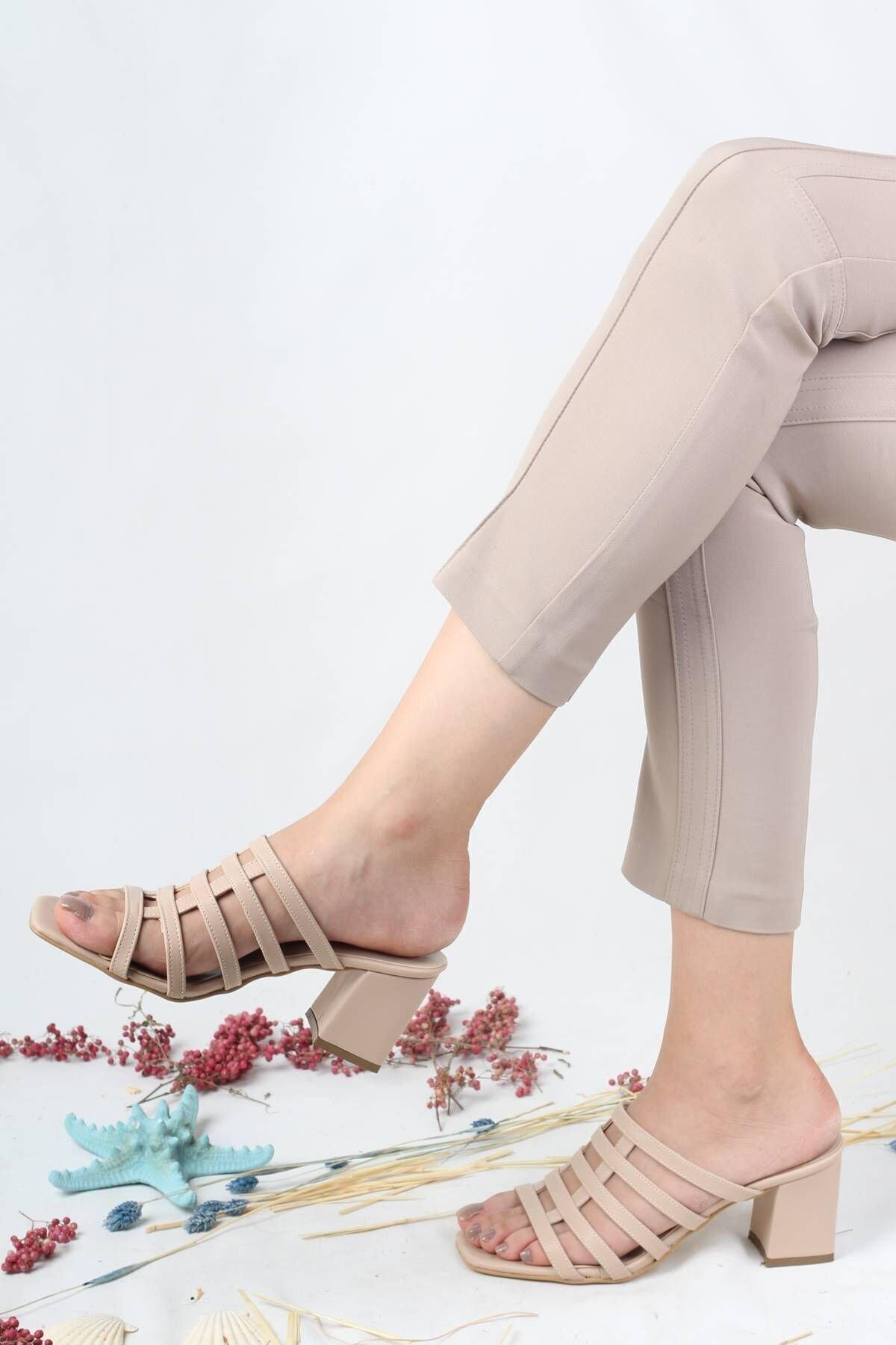 Modabuymus Kadın Bej Kalın Topuklu Terlik