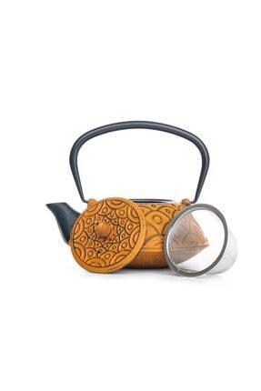 Beta Tea Ba3014 Cast Iron Teapot-demir Döküm Demlik Yellow 800 Ml 0