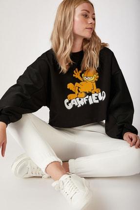 Happiness İst. Kadın Siyah Baskılı Crop Sweatshirt FF00029 0