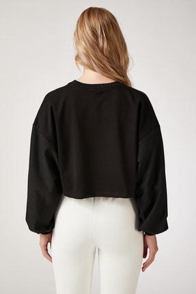 Happiness İst. Kadın Siyah Baskılı Crop Sweatshirt FF00029 2