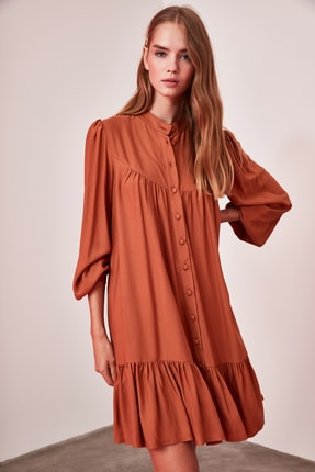 TRENDYOLMİLLA Camel Geniş Kesim Gömlek Elbise TWOAW21EL0169 4