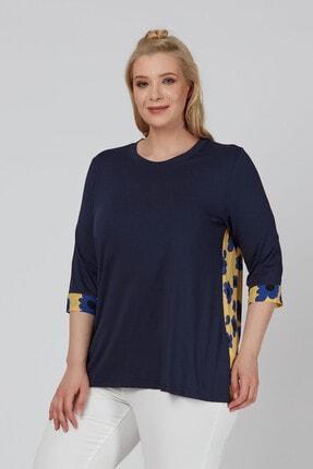 Büyük Moda Arkası Çiçekli Penye Bluz 0