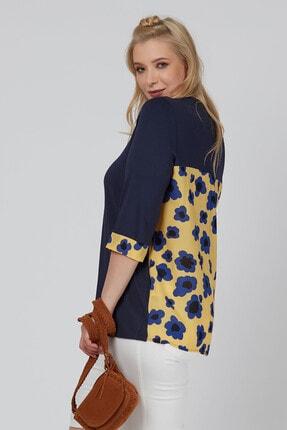 Büyük Moda Arkası Çiçekli Penye Bluz 1