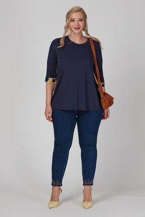 Büyük Moda Arkası Çiçekli Penye Bluz 3