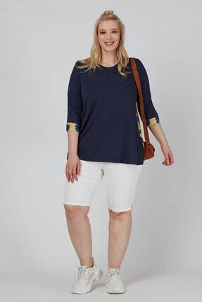 Büyük Moda Arkası Çiçekli Penye Bluz 4