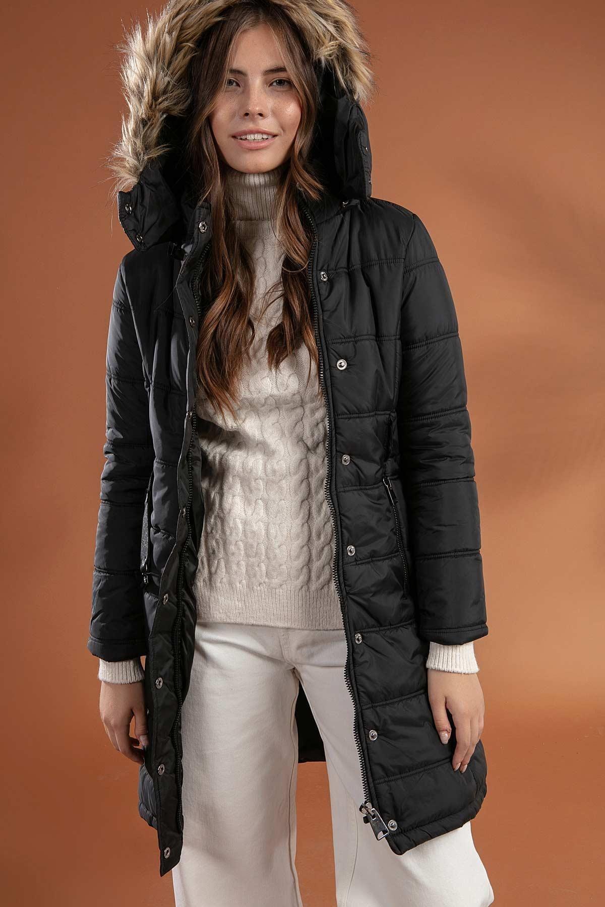 Y-London Kadın Siyah Kapşonu Kürklü Uzun Şişme Kaban Mont 5081 0