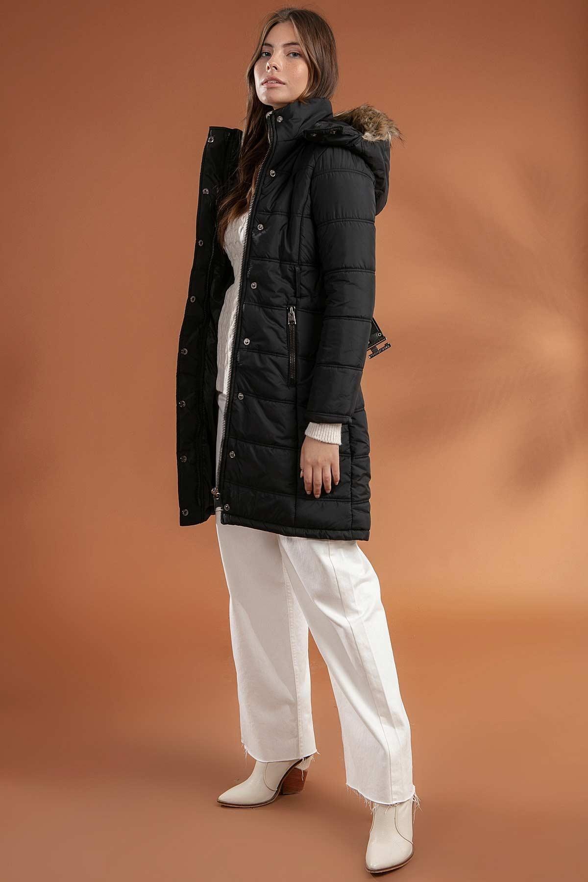 Y-London Kadın Siyah Kapşonu Kürklü Uzun Şişme Kaban Mont 5081 2